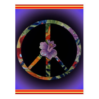 Peace Sign with Rose Postcard