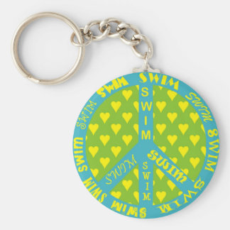 Peace Sign with Swim in Frame Basic Round Button Keychain