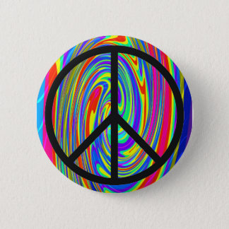 Peace Sign With Trippy Tye Dye Button