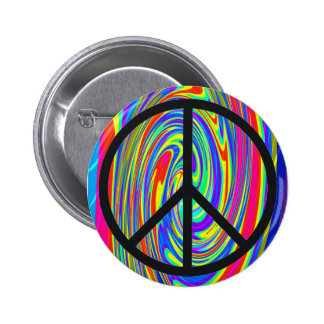 Peace Sign With Trippy Tye Dye Pinback Buttons