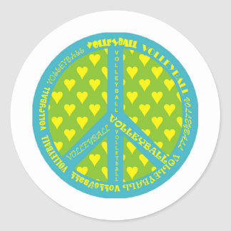 Peace Sign with Volleyball in Frame Classic Round Sticker