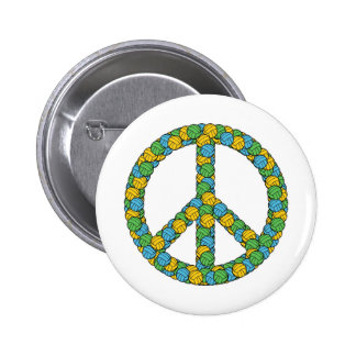 PEACE SIGN WITH VOLLEYBALLS 2 INCH ROUND BUTTON