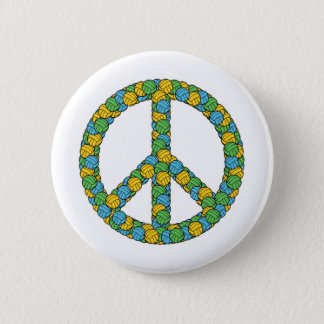 PEACE SIGN WITH VOLLEYBALLS BUTTON