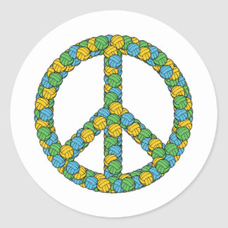 PEACE SIGN WITH VOLLEYBALLS ROUND STICKER