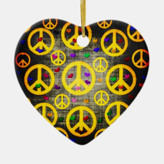 Peace Signs and Hearts Ceramic Ornament