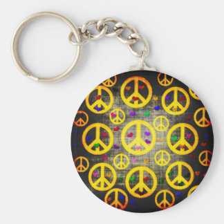 Peace Signs and Hearts Keychain