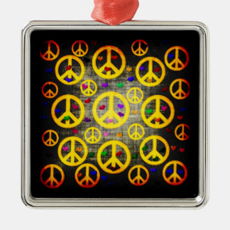 Peace Signs and Hearts Metal Ornament