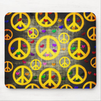 Peace Signs and Hearts Mouse Pad