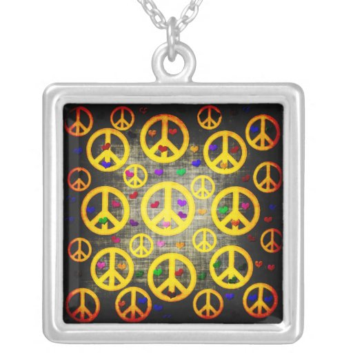 Peace Signs and Hearts Square Pendant Necklace