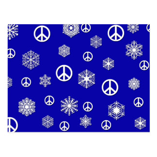 Peace Signs and Snowflakes Holiday Cards Post Card