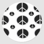 PEACE SIGNS BLACK ON WHITE CLASSIC ROUND STICKER