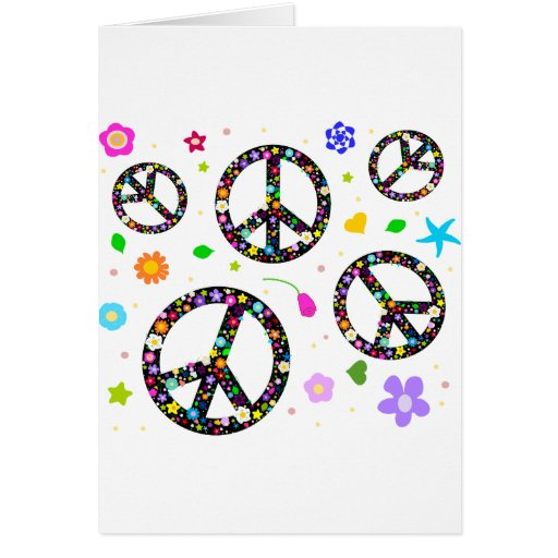 Peace Signs & Flowers Greeting Card