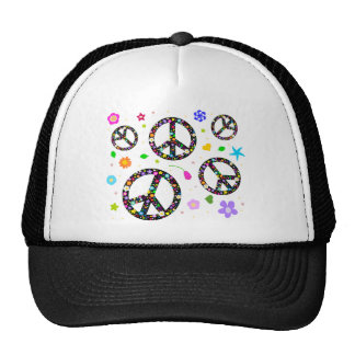 Peace Signs Flowers Mesh Hats