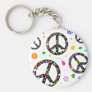 Peace Signs & Flowers Keychain