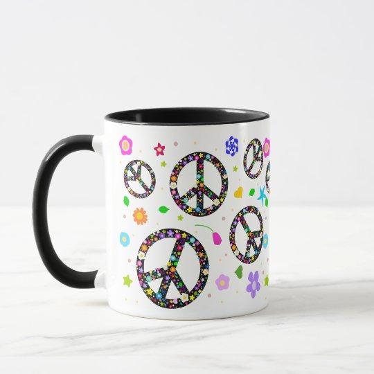Peace Signs & Flowers Mug