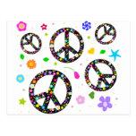 Peace Signs & Flowers Postcard