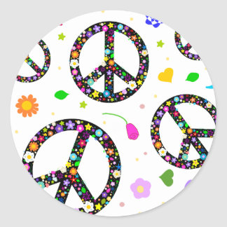 Peace Signs & Flowers Round Sticker