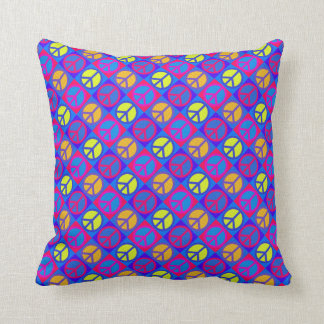 Peace Signs Multicolored Design Throw Pillow