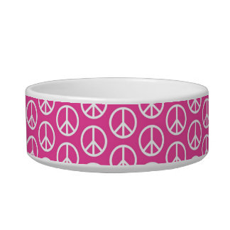 Peace Signs on Bright Pink Cat Bowls