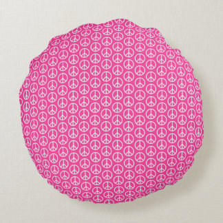Peace Signs on Bright Pink Round Pillow