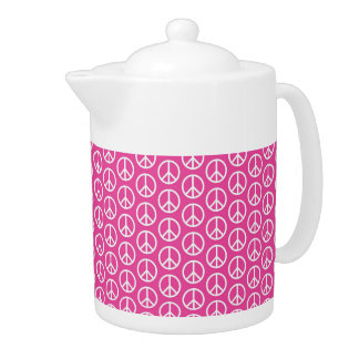 Peace Signs on Bright Pink Teapot