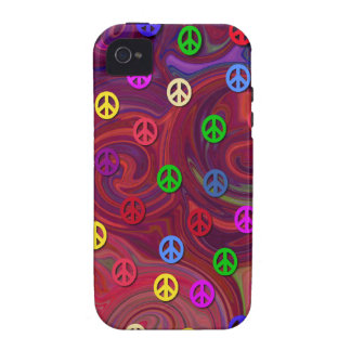 Peace Signs on Colorful Swirl iPhone 4 Covers