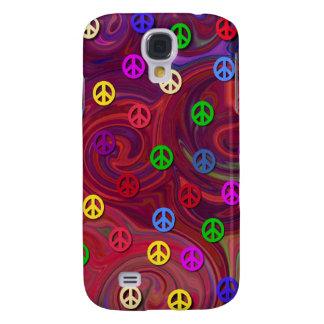 Peace Signs on Colorful Swirl Galaxy S4 Case