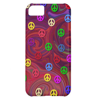 Peace Signs on Colorful Swirl iPhone 5C Case