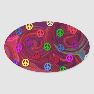 Peace Signs on Colorful Swirl Oval Sticker