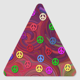 Peace Signs on Colorful Swirl Sticker