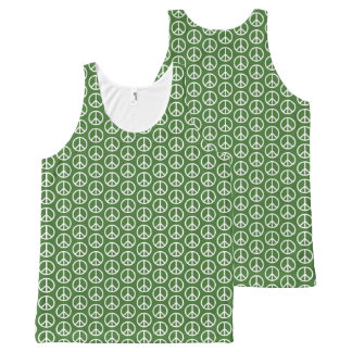 Peace Signs on Holiday Pine Green All-Over Print Tank Top