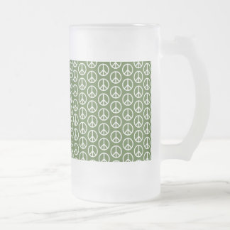 Peace Signs on Holiday Pine Green Frosted Glass Beer Mug