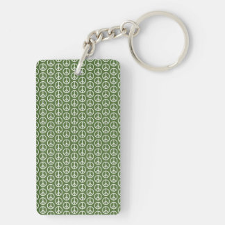 Peace Signs on Holiday Pine Green Keychain