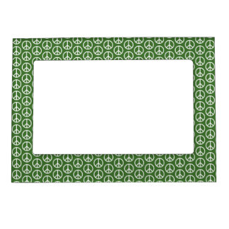Peace Signs on Holiday Pine Green Magnetic Frame