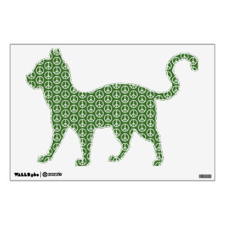 Peace Signs on Holiday Pine Green Wall Sticker