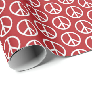 Peace Signs on Holiday Red Wrapping Paper