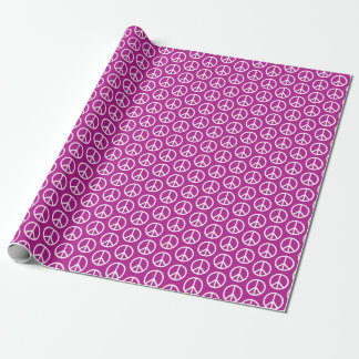 Peace Signs on Plum Purple Wrapping Paper