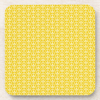Peace Signs on Sunny Yellow Drink Coaster