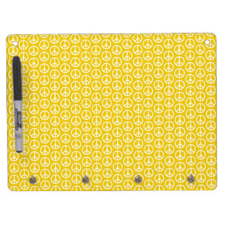 Peace Signs on Sunny Yellow Dry Erase Board With Keychain Holder