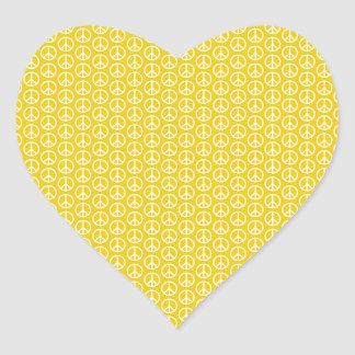 Peace Signs on Sunny Yellow Heart Sticker