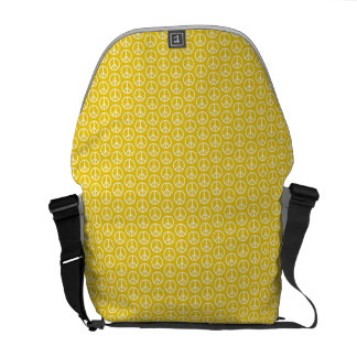 Peace Signs on Sunny Yellow Messenger Bag