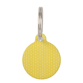 Peace Signs on Sunny Yellow Pet Tag