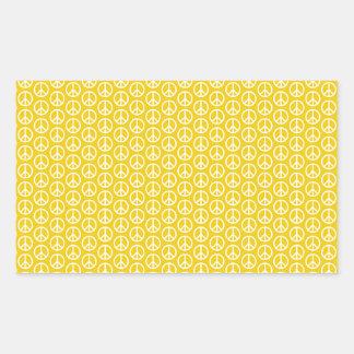Peace Signs on Sunny Yellow Rectangular Sticker
