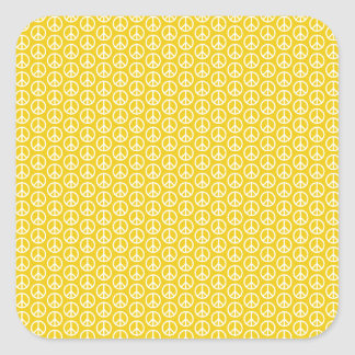 Peace Signs on Sunny Yellow Square Sticker
