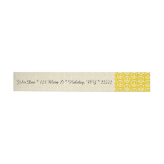 Peace Signs on Sunny Yellow Wrap Around Address Label