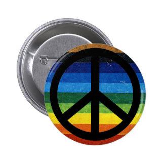 peace simbol rainbow pinback buttons