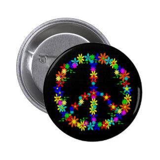 Peace símbolo Flower Power Pin Redondo De 2 Pulgadas