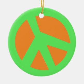 Peace-Smiley Green Ceramic Ornament