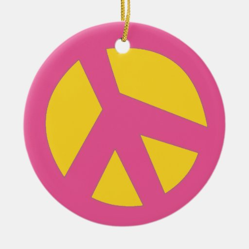 Peace-Smiley Pink Christmas Tree Ornament