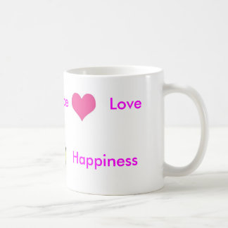 peace, smiley, pretty heart, Peace, Love, Happi... Classic White Coffee Mug